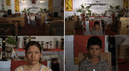 Stills from Sanctuary featuring Elvira Arellano and her son while they are seeking refuge at a Chicago church.